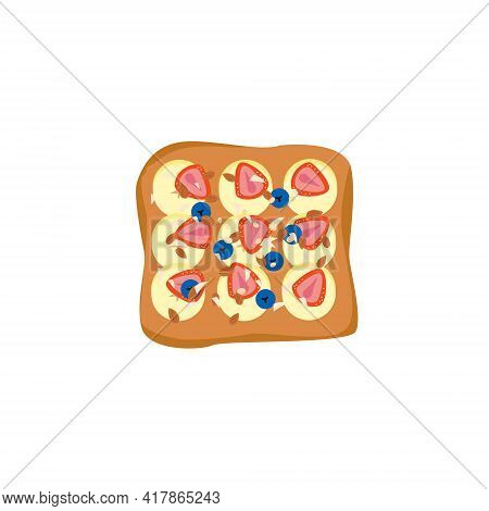 Delicious Banana Berry Toast Icon Isolated. Healthy Snack With Bread, Strawberry, Blueberry Banana,