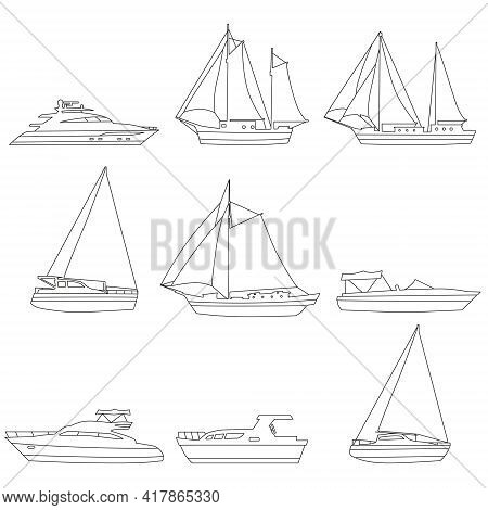Set Boats, Speedboat, Sailboat, Vessel, Yacht, Icons, Logo. Vector Ship And Motor Boats, Lineart Edi
