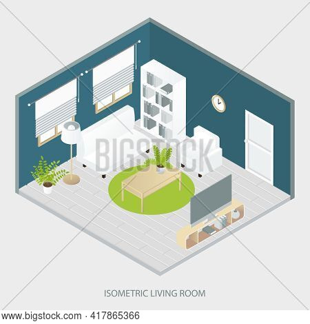 Isometric Living Room With White And Beige Furniture Round Carpet Grey Parquet Floor Blue Walls Vect