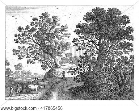In a hilly landscape, on a road with trees on either side, two cow floats with three cows walk. Three more men walk ahead of the cows. Print from a series of Italian landscapes.