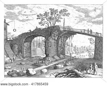 A stone, partly wooden bridge over a river. Under the bridge is a jetty on which is a angler with a dog is standing. On the left of the stairs a woman with a bucket.