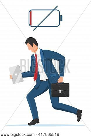 Businessman Character Tired Low Battery. Overworked Male Entrepreneur Executive At Work. Stressed Bu