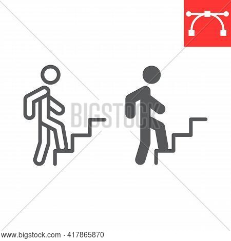 Career Path Line And Glyph Icon, Leadership And Success, Person Climbing Career Path Vector Icon, Ve