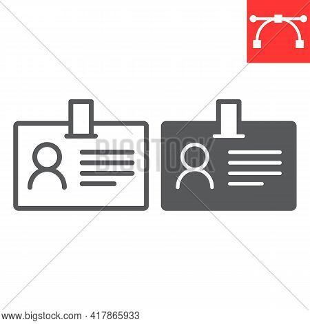 Id Card Line And Glyph Icon, Identification And Card Holder, Office Badge Vector Icon, Vector Graphi
