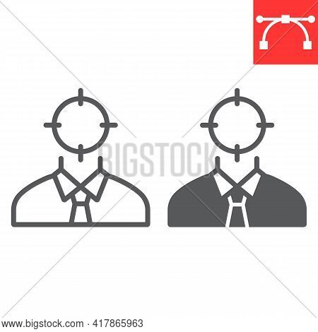 Target Candidate Line And Glyph Icon, Manager And Head Hunting, Headhunting Vector Icon, Vector Grap
