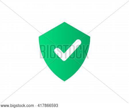 Check Mark Icon. Tick Symbol. Positive Check Mark Logo Flat Icon. Check Mark Icon With Shield Vector