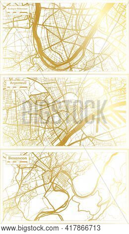 Besancon, Argenteuil and Boulogne Billancourt France City Map Set in Retro Style in Golden Color. Outline Map.