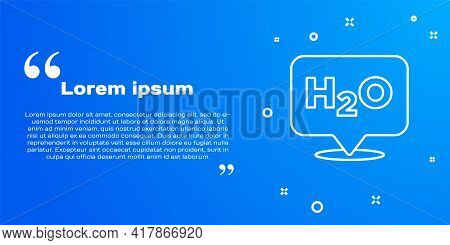 White Line Chemical Formula For Water Drops H2o Shaped Icon Isolated On Blue Background. Vector