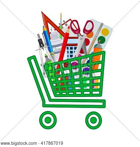 Shopping Cart With Stationery And Office Supplies Isolated On White Background. Basket Full Of Educa