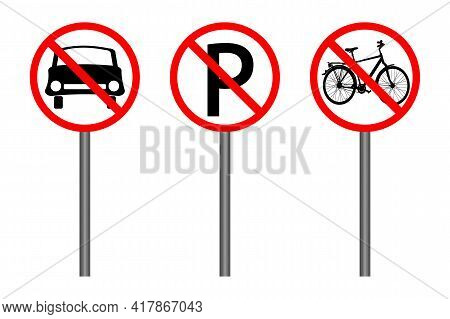 Set Of Red Prohibition Sign Isolated On White Background. Traffic Restriction Signs. No Car, No Bicy