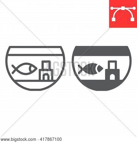 Aquarium Line And Glyph Icon, Pet And Fishbowl, Fish In Aquarium Vector Icon, Vector Graphics, Edita