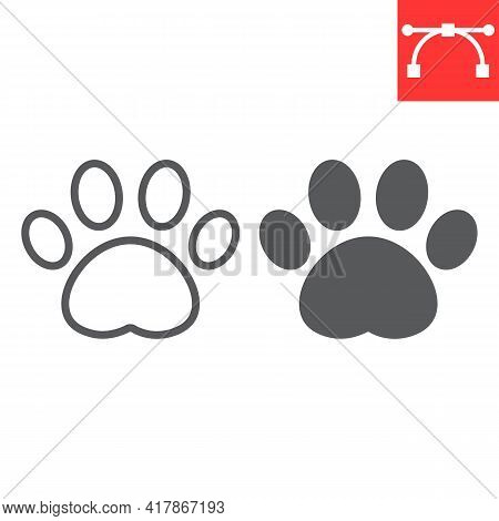 Paw Print Line And Glyph Icon, Pet And Foot, Dog Paw Footprint Vector Icon, Vector Graphics, Editabl