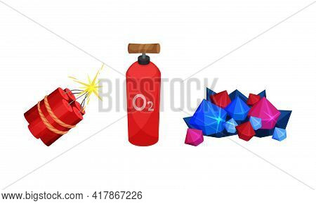 Mining Industrial Tools With Pile Of Valuable Minerals And Dynamite Vector Set