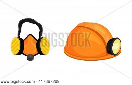 Mining Safety Equipment With Hard Hat With Flashlight And Ear Protection Vector Set