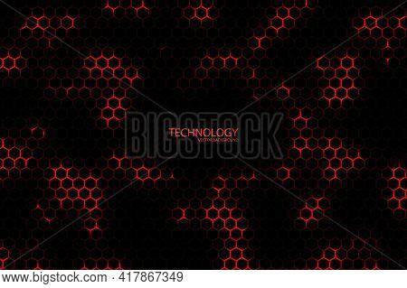 Technology Hexagonal Vector Background. Red Bright Energy Blinks Under The Hexagon In Dark Modern Fu