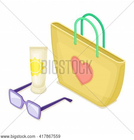 Beach Bag With Sunglasses And Tanning Lotion As Vacation Time Isometric Vector Composition
