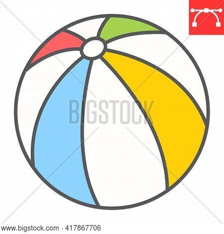 Beach Ball Color Line Icon, Toy And Tourism, Beachball Vector Icon, Vector Graphics, Editable Stroke