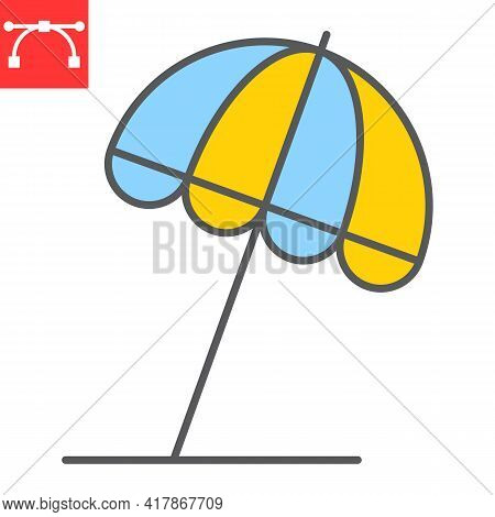 Beach Umbrella Color Line Icon, Sun Umbrella And Tourism, Parasol Vector Icon, Vector Graphics, Edit