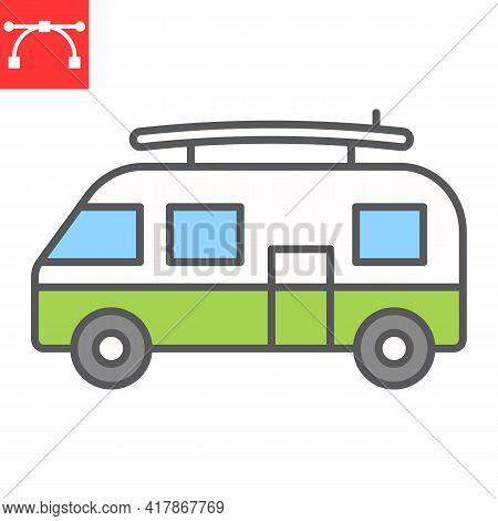 Surfer Van Color Line Icon, Vehicle And Beach, Summer Van Vector Icon, Vector Graphics, Editable Str