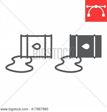 Oil Spill Line And Glyph Icon, Spilled Oil And Fuel, Oil Barrel Leak Vector Icon, Vector Graphics, E