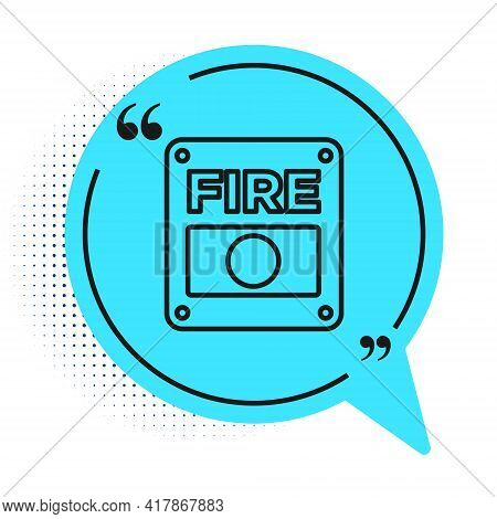 Black Line Fire Alarm System Icon Isolated On White Background. Pull Danger Fire Safety Box. Blue Sp