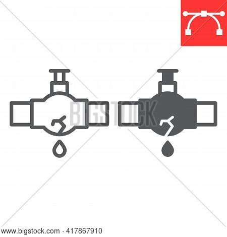 Burst Oil Pipe Line And Glyph Icon, Water Leak And Oil Industry, Burst Pipe Vector Icon, Vector Grap