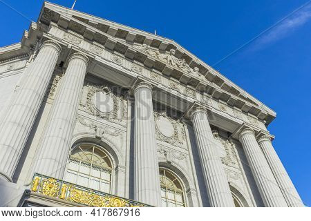 The Beautiful Architecture Of City Hall With Blue Sky In San Francisco,ca.