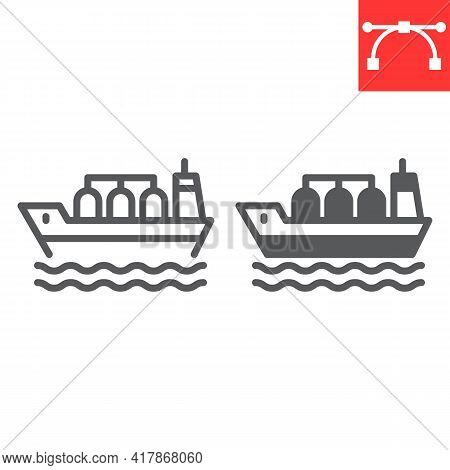 Oil Tanker Ship Line And Glyph Icon, Fuel Shipping And Logistics, Cargo Ship Vector Icon, Vector Gra