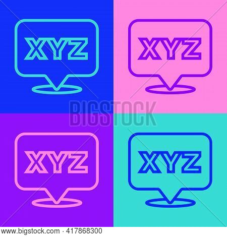 Pop Art Line Xyz Coordinate System Icon Isolated On Color Background. Xyz Axis For Graph Statistics
