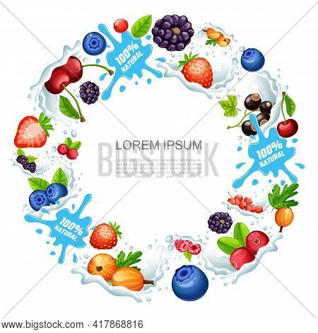 Cartoon Natural Berry Smoothies Round Concept With Cherry Strawberry Raspberry Blueberry Currant Goo