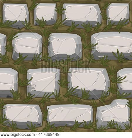 Cobble Stones Seamless Texture With Grass, Gray Vintage Pattern For Wallpaper.