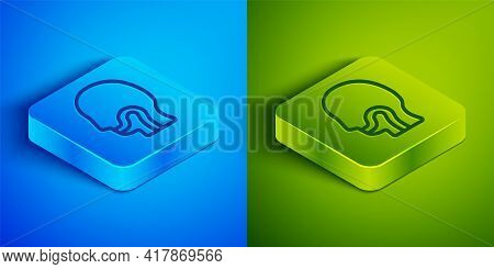 Isometric Line Sore Throat Icon Isolated On Blue And Green Background. Pain In Throat. Flu, Grippe,
