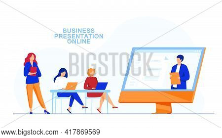 Businesswomen Listening To Presentation Online. Screen, Company, Laptop Flat Vector Illustration. Bu