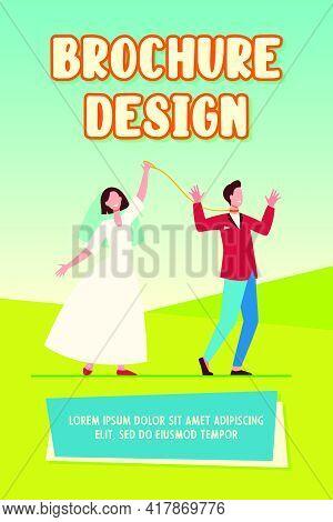 Cheerful Bride Leading Groom On Leash. Wedding Day, Dress, Smoking, Metaphor. Flat Vector Illustrati