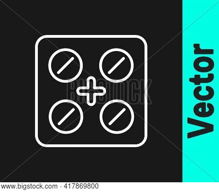 White Line Pills In Blister Pack Icon Isolated On Black Background. Medical Drug Package For Tablet,