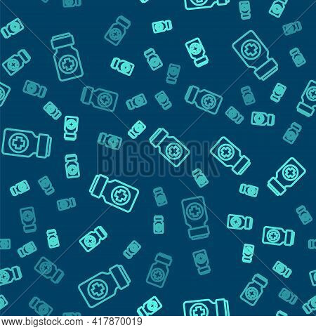 Green Line Medicine Bottle And Pills Icon Isolated Seamless Pattern On Blue Background. Bottle Pill