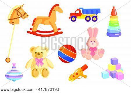 Colorful Baby Toys Set. Cartoon Kid Rocking Horse, Truck, Ball, Soft Bear, Rabbit, Water Gun, Cubes,