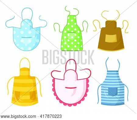 Colorful Kitchen Aprons Set. Protective Clothing With Pattern Collection Design. Flat Vector Illustr