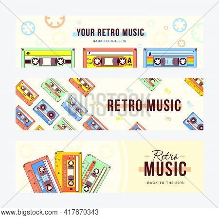 Creative Banner Designs With Compact Cassettes. Vivid Brochures With Vintage Tape Records. Retro Mus