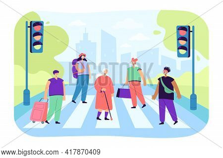 Crowd Of Various People Crossing Avenue Road Flat Vector Illustration. Cartoon Pedestrians Walking O