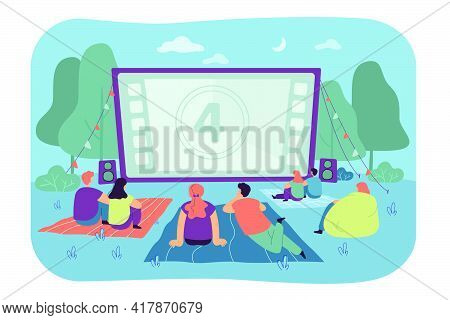 Friends Watching Movie In Open Air Cinema. Big Screen In Backyard. Dating Couples Spending Evening T