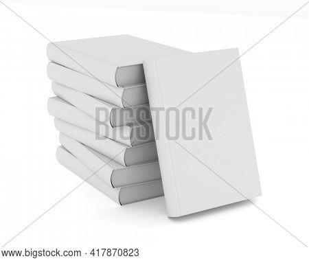 pile books on white background. Isolated 3D illustration