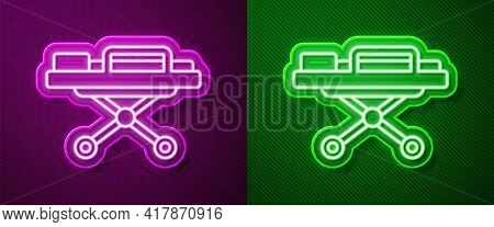 Glowing Neon Line Stretcher Icon Isolated On Purple And Green Background. Patient Hospital Medical S