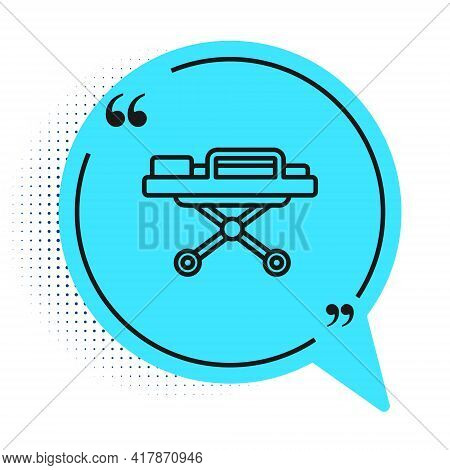 Black Line Stretcher Icon Isolated On White Background. Patient Hospital Medical Stretcher. Blue Spe