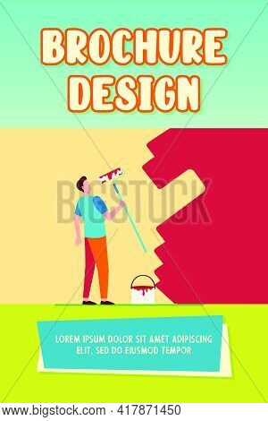 House-painter Painting Wall With Paint Roller. Color, Handyman, Repairman Flat Vector Illustration.
