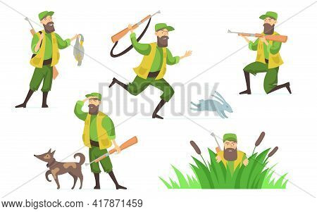 Hunter Vector Illustrations Set. Man Wearing Camouflage Clothes Holding Dead Duck, Hunting Outdoors