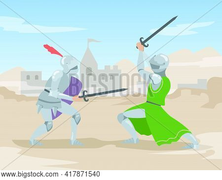 Knights Duel With Swords At Ancient City. Brave Medieval Solders Men People In Heavy Steel Armor Fig