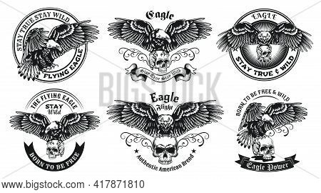 Monochrome Labels With Eagle And Skull Vector Illustration Set. Retro Emblems With Flying Predator B