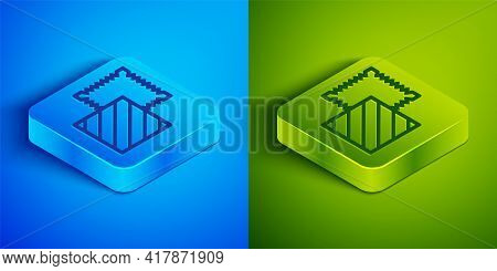 Isometric Line Textile Fabric Roll Icon Isolated On Blue And Green Background. Roll, Mat, Rug, Cloth