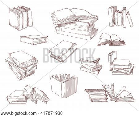 Open Books, Stacks, Piles, Notebooks Sketch Set. Study And Science Textbooks Vector Illustration. Ha